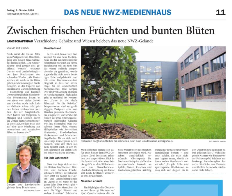 NWZ-Zeitungsartikel vom 2.Oktober 2020 Bericht über Barukmann Gartenlandschaftsbau Gehölze und Wiesen beleben das neue NWZ- Gebäude